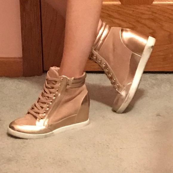 Rose Gold Wedge Sneakers   Poshmark
